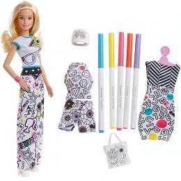 Barbie DIY Crayola FPH90 Kolorowa Moda - zestaw z lalką i pisakami
