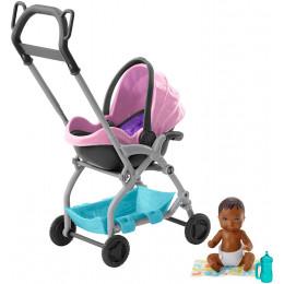 Barbie - Opiekunka Skipper - Zestaw z różowym wózkiem - FXG95