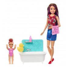 Barbie - Lalka Skipper Opiekunka - Zestaw z wanną FXH05
