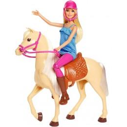 Barbie – Lalka + kremowy koń z siodłem FXH13