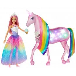 Barbie Dreamtopia - Lalka i jednorożec - Magia świateł FXT26