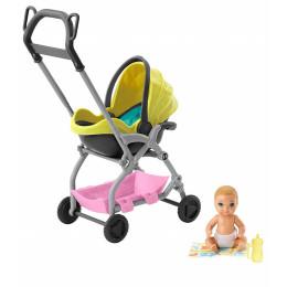 Barbie - Opiekunka Skipper - Zestaw z żółtym wózkiem GFC18