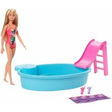 Barbie - Basen dla lalek + Lalka - GHL91
