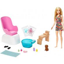 Barbie - Mani-Pedi – Zestaw do zabawy w SPA + lalka – GHN07