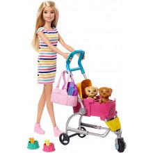 Barbie - Zestaw z wózkiem dla piesków + lalka – GHV92