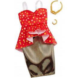 Barbie – Ubranka dla Barbie – Czerwono-złota sukienka – FND47 GHW81