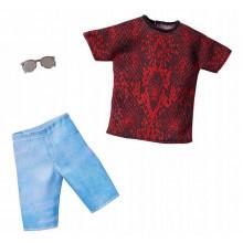 Barbie – Ubranka dla Kena – Czerwona koszulka i jeansowe spodenki – FKT44 GHX50