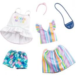 Barbie – Ubranka dla Barbie – Zestaw z tęczową spódniczką i bluzką – GHX59