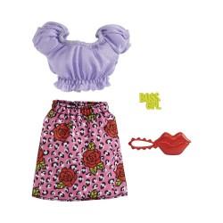 Barbie – Ubranka dla Barbie – Spódniczka w panterkę i róże – GWC27 GRB96
