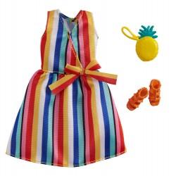 Barbie – Ubranka dla Barbie – Tęczowa sukienka w pionowe paski – GWC27 GRB98