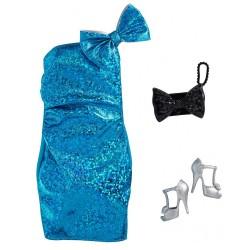 Barbie – Ubranka dla Barbie – Niebieska brokatowa sukienka – GWC27 GRC01