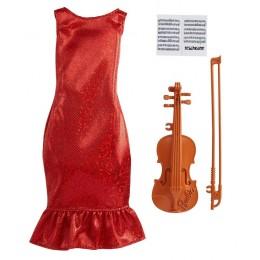 Barbie – Ubranka dla Barbie – Brokatowa czerwona sukienka i skrzypce – GWC27 GRC53