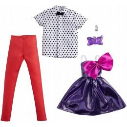 Barbie – Ubranka dla Barbie i Kena – koszula w kropki i fioletowa sukienka z kokardą – GWC33 GRC97