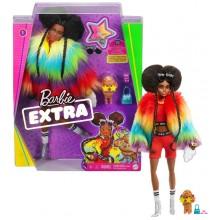 Barbie Extra – Lalka Afroamerykanka w futrze z figurką pieska GVR04