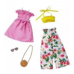 Barbie – Ubranka dla Barbie – Zestaw z wysokimi spodniami w kwiaty – FKT27 GHX64