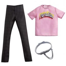 Barbie – Ubranka dla Kena – różowa bluzka i spodnie w kratkę – GWC31 GRC74