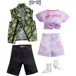 Barbie – Ubranka dla Barbie i Kena – Tęczowe szorty i zielona koszula – GWC33 GRC95