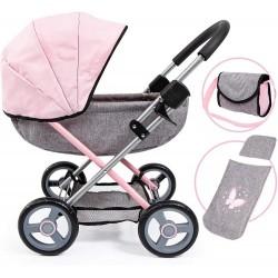 Bayer – Głęboki wózek dla lalek – Szaro-różowy 12733