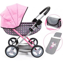 Bayer – Głęboki wózek dla lalek – Różowy w kropki 12766