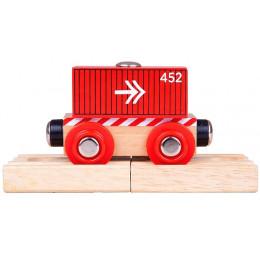 BigJigs - Pociąg drewniany – Czerwony wagon ze strzałkami - BJT485