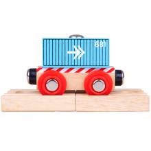 BigJigs - Pociąg drewniany – Niebieski wagon ze strzałkami - BJT486