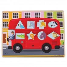 BigJigs - Sorter kształtów - Autobus ze zwierzątkami BJ028