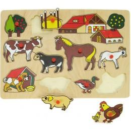 BigJigs BJ094 Drewniana układanka - Puzzle Farma
