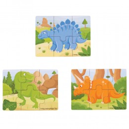 BigJIgs - Puzzle 3 obrazki - Dinozaury BJ816