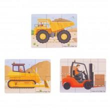 BigJigs - Puzzle 3 obrazki - Pojazdy budowlane BJ817