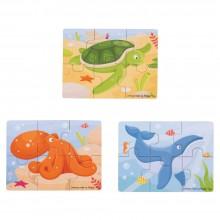 BigJigs - Puzzle 3 obrazki - Zwierzęta morskie BJ819