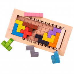 BigJigs - Gra logiczna Lock a Block - Drewniany Tetris BJ945
