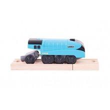 Kolejka Drewniana Niebieska lokomotywa na baterie - Mallard BigJigs BJT308