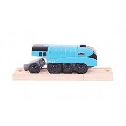 BigJigs BJT308 Niebieska lokomotywa na baterie - Mallard