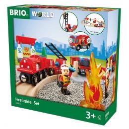BRIO 33815 - Kolejka drewniana - Zestaw straży pożarnej
