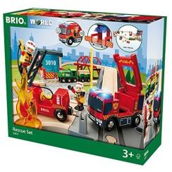 BRIO 33817 Kolejka drewniana - Zestaw straży pożarnej Deluxe