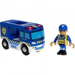 BRIO 33825 Dodatek do kolejki drewnianej - Policyjny van