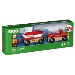 BRIO 33859 Kolejka drewniana - Pojazd straży pożarnej z łódką