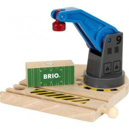 BRIO Niebieski dźwig towarowy Dodatek do kolejki drewnianej 33866