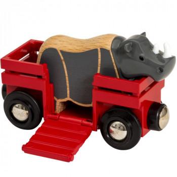 Kolejka Drewniana BRIO - 33968 - Wagon z Nosorożcem