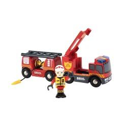 BRIO 33811 - Kolejka drewniana - Zestaw straży pożarnej