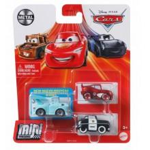 Auta Cars Mini Racers – Zestaw trzech autek – Metal – GRW17