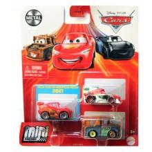 Auta Cars Mini Racers – Zestaw trzech autek – Metal – GRW18
