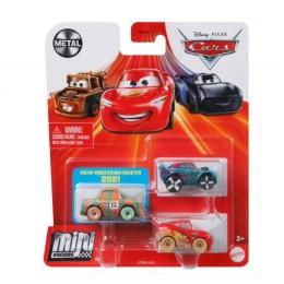 Auta Cars Mini Racers – Zestaw trzech autek – Metal – GRW22