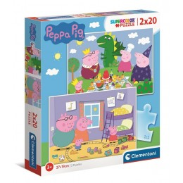 Clementoni – Puzzle Supercolor 2 x 20 elementów – Świnka Peppa – 24778