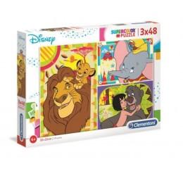 Clementoni – Puzzle Supercolor – Disney – 3 x 48 elementów – 25236