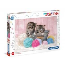 Clementoni – Puzzle Supercolor 104 elementy – Słodkie kotki – 27115