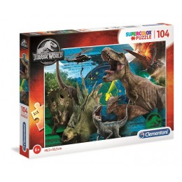 Clementoni – Puzzle Supercolor 104 elementy – Jurassic World Dinozaury – 27196