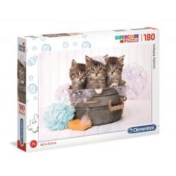 Clementoni – Puzzle Supercolor 180 elementów – Kotki w kąpieli – 29109