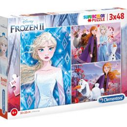 Clementoni - Puzzle Supercolor 3 x 48 elementów - Frozen II - 25240