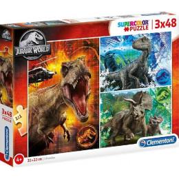 Clementoni - Puzzle Supercolor 3 x 48 elementów - Jurassic World - 25250